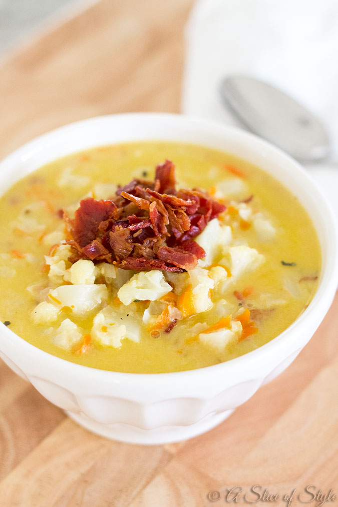 soup, cauliflower soup, healthy recipes, bacon, carrots, cheese, cauliflower