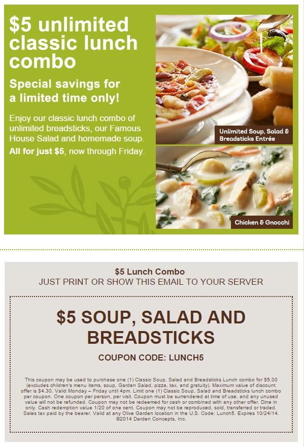 Olive Garden $5 lunch