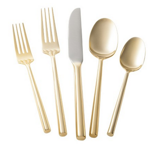 Gold flatware, gold silver silverware, Thankgiving place settings, pretty table