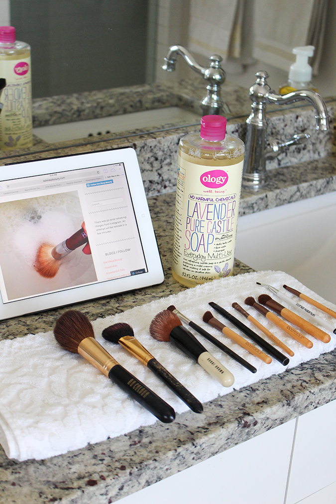 How to clean makeup brushes, best way to clean makeup brushes, tutorial, tutorial on how to clean makeup brushes, most inexpensive way to clean makeup brushes, uses for Castile soap, best ways to use Castile soap  | The BEST Way to Clean Makeup Brushes featured by top Utah life and style blog, A Slice of Style: image of pure castile soap