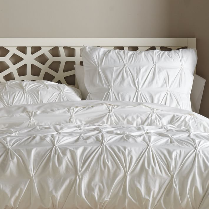 Bedding, white bedding, sale on white bedding, West Elm