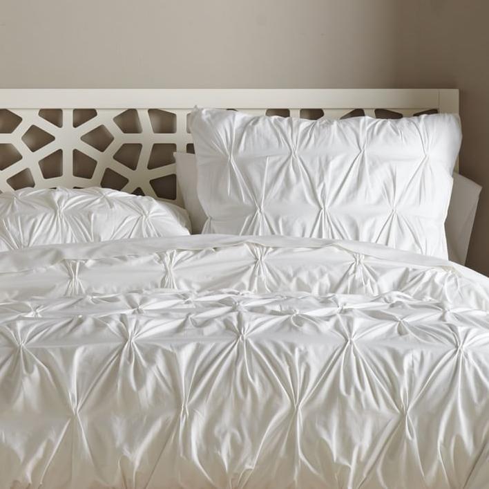 Bedding, white bedding, sale on white bedding, West Elm