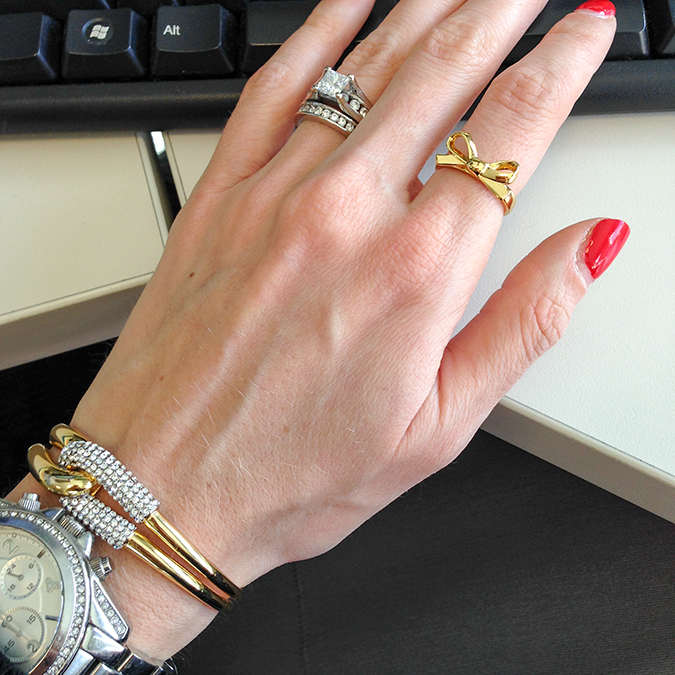 Kate Spade Skinny Mini bow ring, Kate Spade sale, Kate Spade jewelry, Kate Spade ring, Kate Spade bow ring