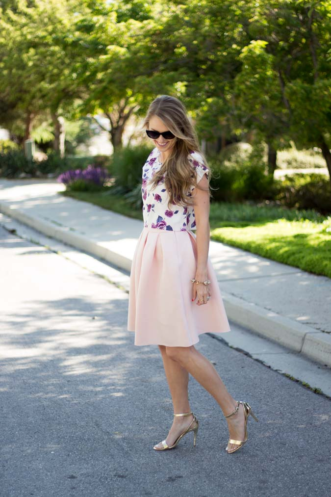 Cents of Style, pink midi skirt, affordable summer fashion, cute summer fashion, pink skirt, floral crop top