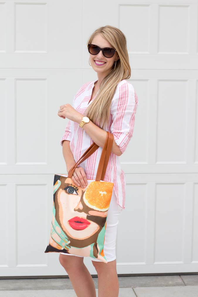 Cents of Style, Andy Warhol bag, inexpensive summer sandals, good deals on trends, white shorts outfit ideas, summer outfit ideas, inexpensive sunglasses