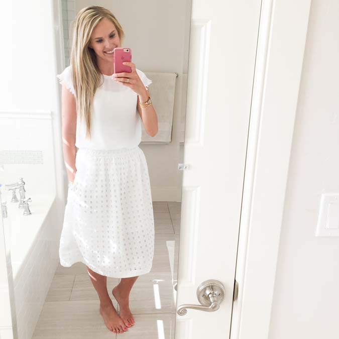 GAP eyelet midi skirt, GAP sale, best deals on clothes, white skirt