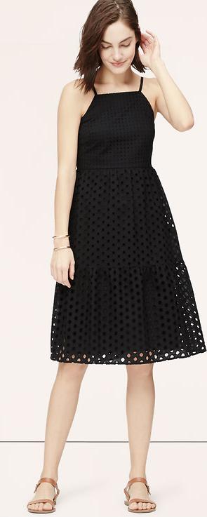 black eyelet midi dress
