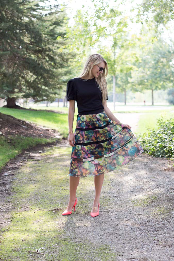 Floral knee length skirt for fall