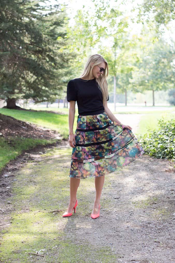 Floral knee length skirt for fall