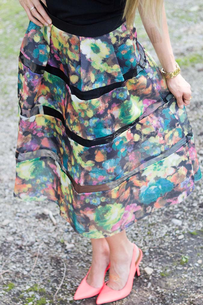 Knee length floral skirt