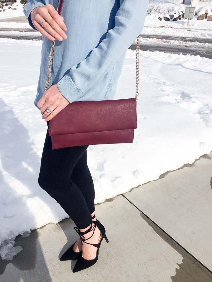 burgundy purse
