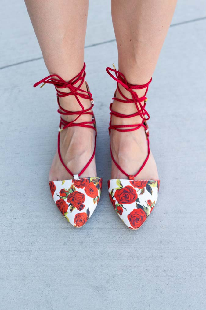 rose tie up flats