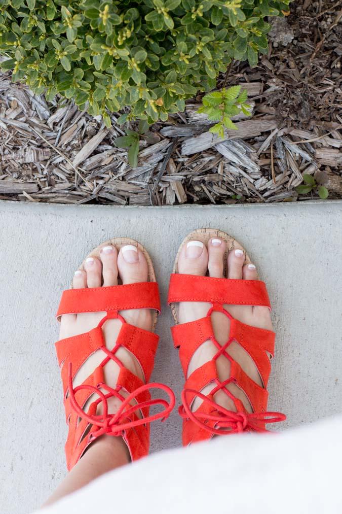 orange red sandals