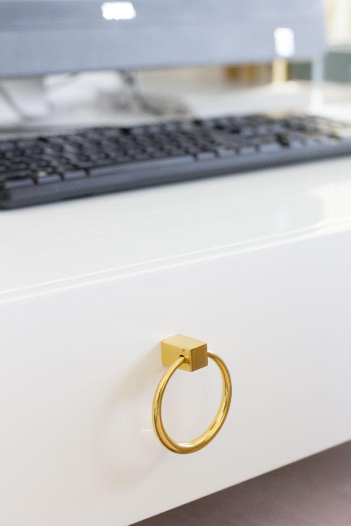 white and gold desk