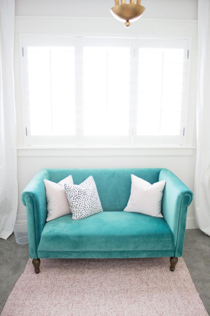 velvet green couch