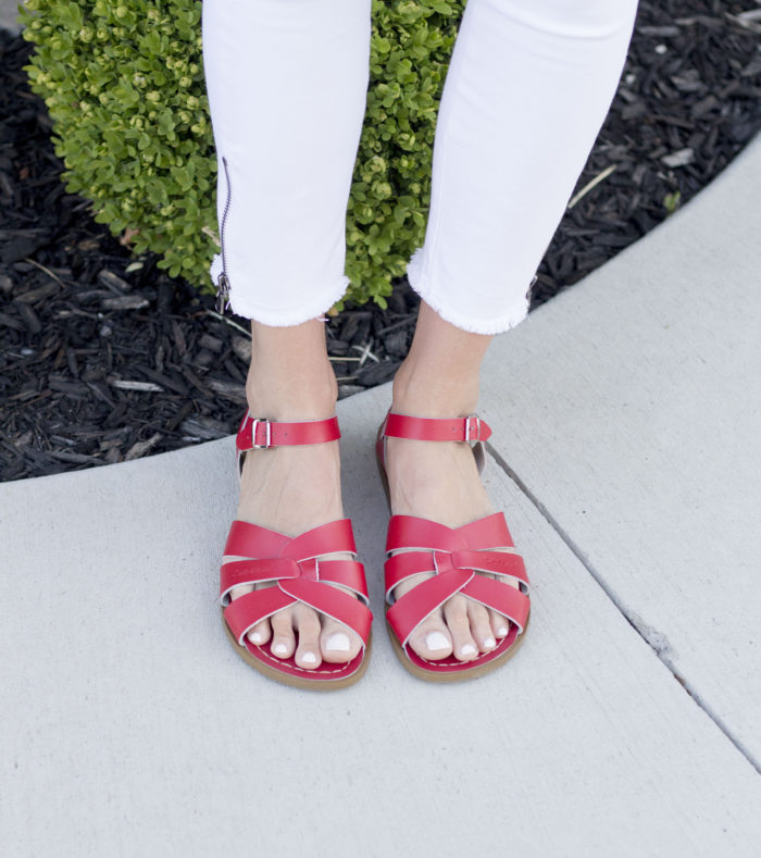 red salt water sandals