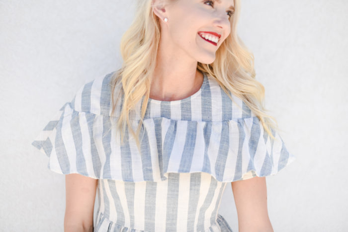 Rachel Parcell blue and white striped dress with ruffles