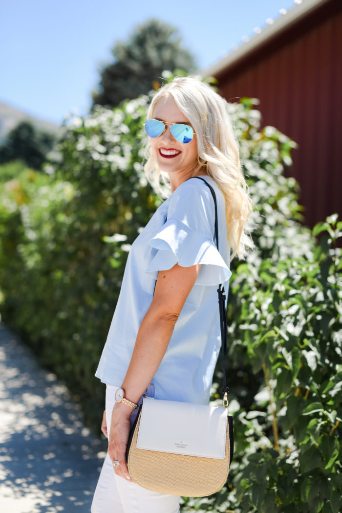 blue ruffle sleeve top