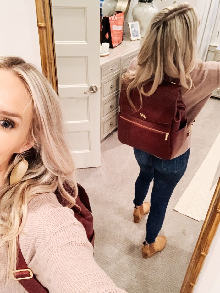 Best Labor Day Sales 2019 by popular Utah fashion blog: image of a woman wearing the birch Freshly Picked diaper bag.