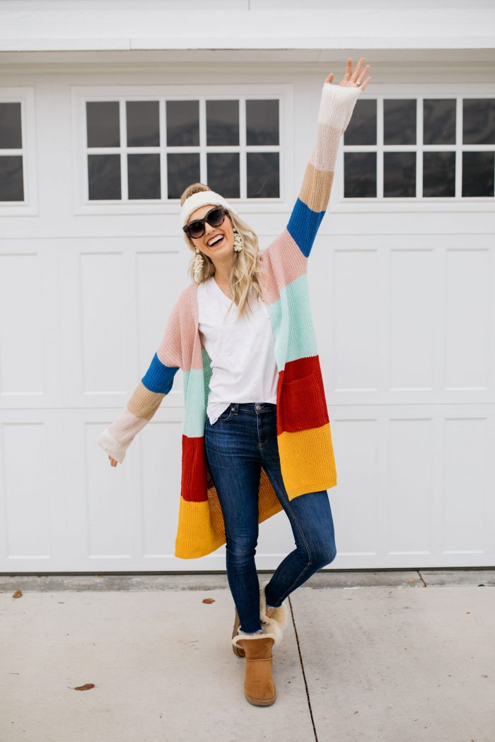 J Crew Factory Sale featured by top US fashion blog A Slice of Style; Image of woman wearing striped cardigan and beanie from J Crew Factory