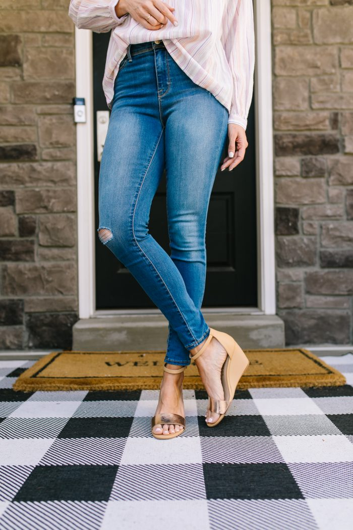 Affordable Women's Fashion featured by top US life and style blog A Slice of Style; Image of a woman wearing a striped top, jeans and wedges from Walmart.