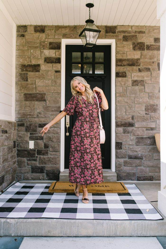 Affordable Women's Fashion featured by top US life and style blog A Slice of Style; Image of a woman wearing a floral dress and wedges from Walmart.