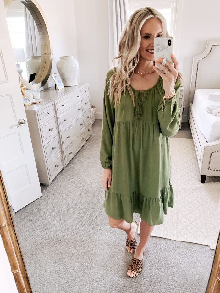 Affordable Walmart fashion favorites featured by top US fashion blog, A Slice of Style: image of a woman wearing a Time and Tru olive midi dress and leopard mules available at Walmart