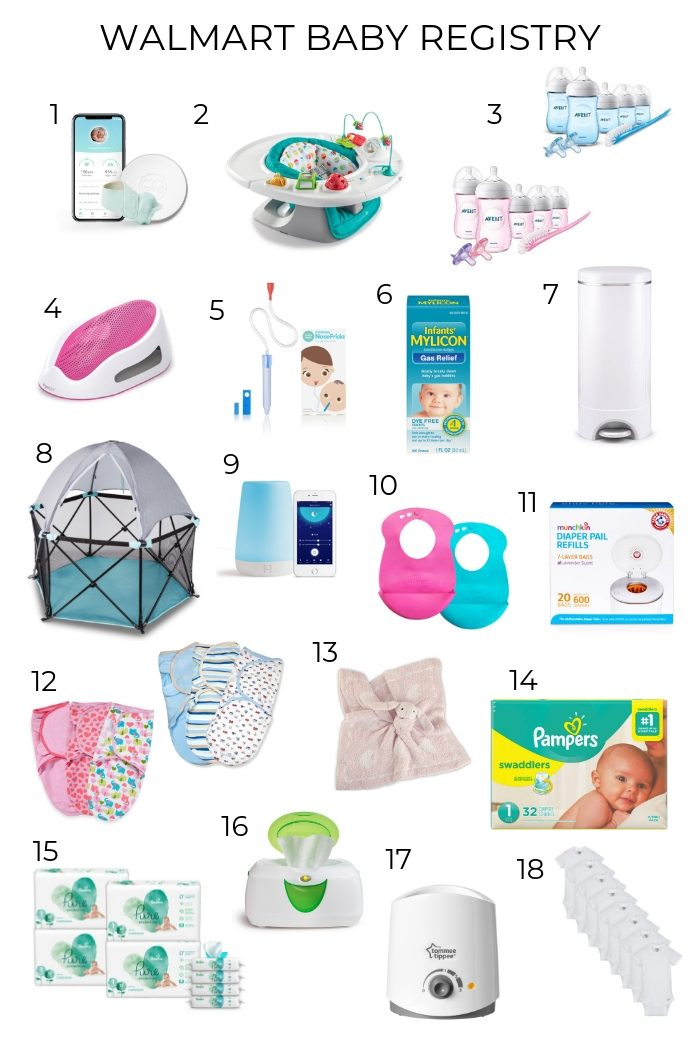 Walmart Baby Registry Must-Have by popular Utah life and style blog, A Slice of Style: collage image of Walmart baby products.