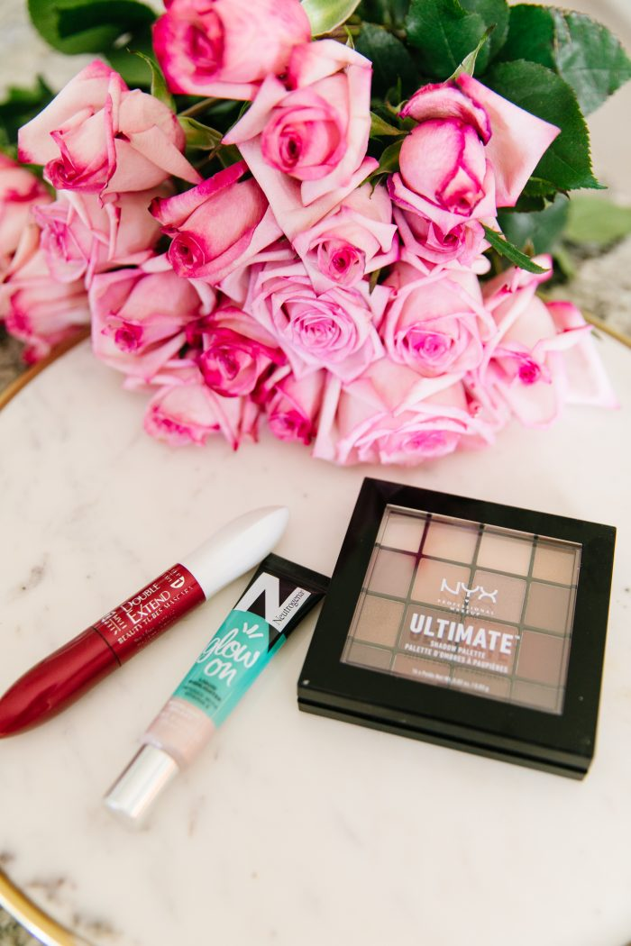 Walmart Beauty Essentials featured by top US beauty blog, A Slice of Style: image of NYX ultimate shadow palette and Neutrogena liquid highlighter