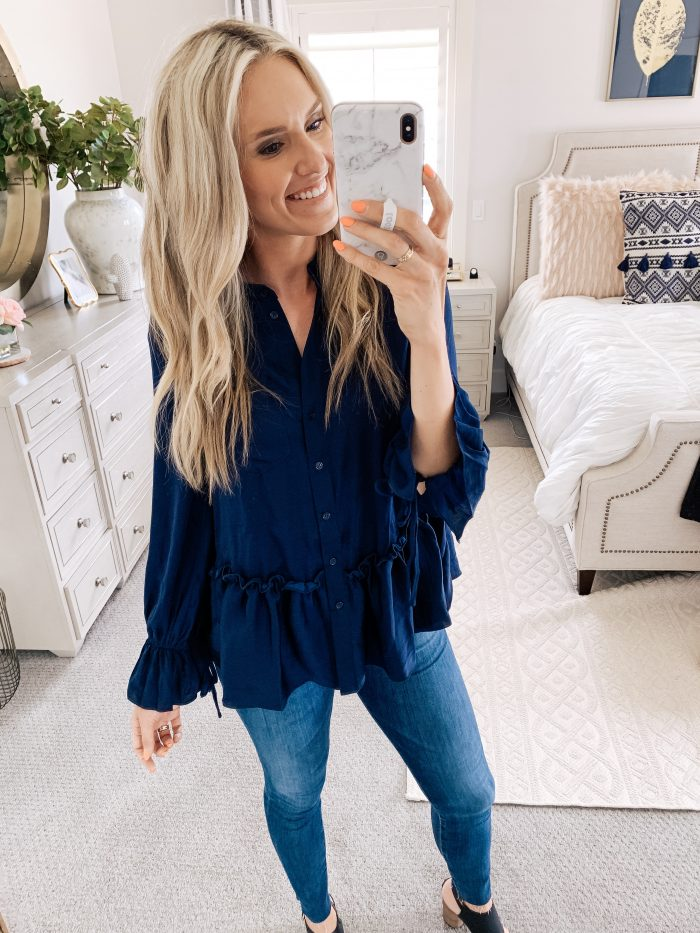 Affordable Amazon Beauty Dupes + Latest Amazon Favorites! by popular Utah beauty blog, A Slice of Style: image of a woman wearing a Amazon Brand - find. Women's Long Sleeve Ruffle Blouse.