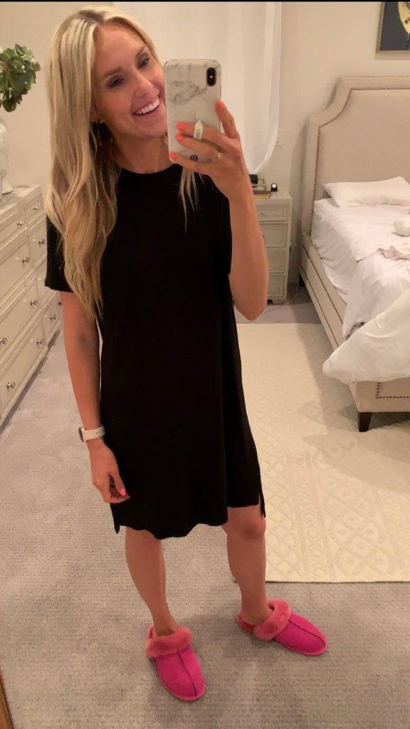 Best of Amazon Prime Day: $7.50 Earrings You Need! by popular Utah fashion blog, A Slice of Style: image of a woman taking a selfie in front of full body mirror and wearing a black Daily Ritual Women's Jersey Short-Sleeve Boxy Pocket T-Shirt Dress and pink slippers.