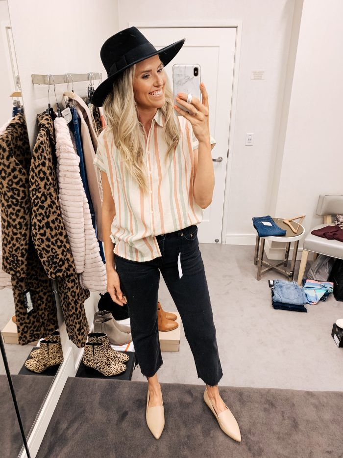 Nordstrom Anniversary Sale Haul featured by top US fashion blog, A Slice of Style: image of a woman wearing a Madewell striped shirt