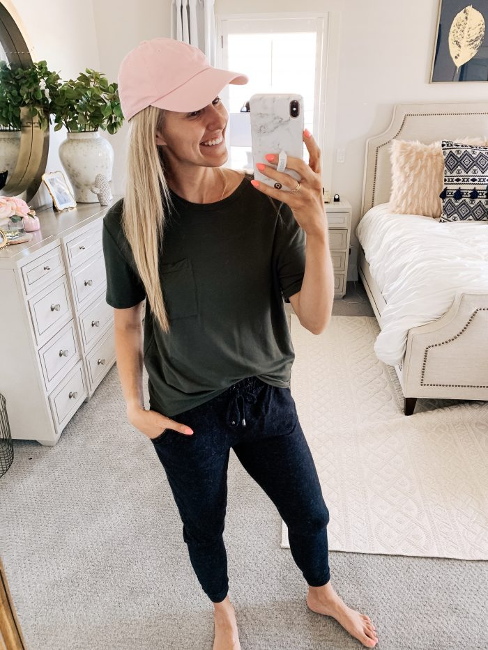 Affordable Amazon Beauty Dupes + Latest Amazon Favorites! by popular Utah beauty blog, A Slice of Style: image of a woman wearing a Amazon Brand - Daily Ritual Women's Supersoft Terry Short-Sleeve Boxy Pocket Tee.