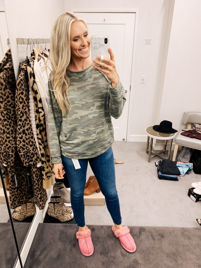 Nordstrom Anniversary Sale Haul featured by top US fashion blog, A Slice of Style: image of a woman wearing a Caslon camo sweatshirt