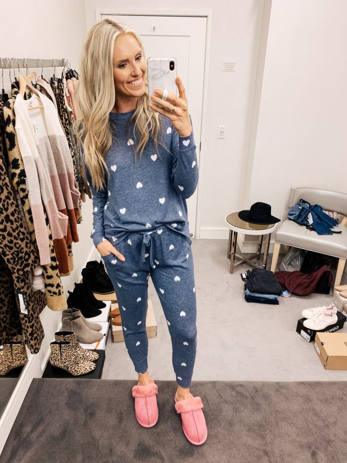 Nordstrom Anniversary Sale Haul featured by top US fashion blog, A Slice of Style: image of a woman wearing BP cozy loveheart two piece set
