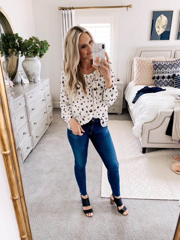 Affordable Amazon Beauty Dupes + Latest Amazon Favorites! by popular Utah beauty blog, A Slice of Style: image of a woman wearing a  Amazon Brand - Lark & Ro Women's Long Sleeve Gathered Blouse.
