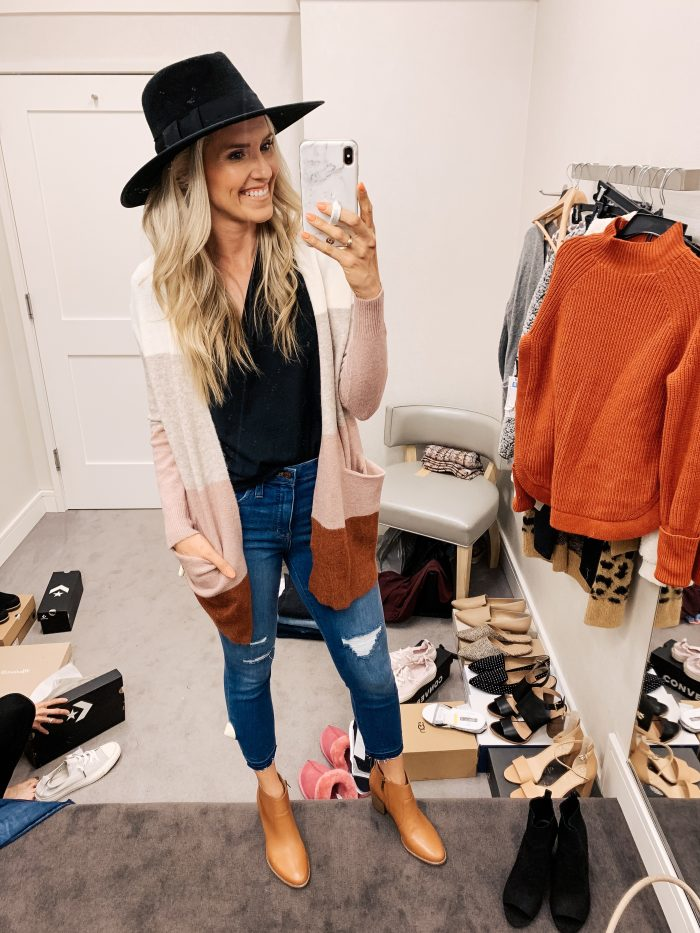 Nordstrom Anniversary Sale Haul featured by top US fashion blog, A Slice of Style: image of a woman wearing a Madewell striped cardigan