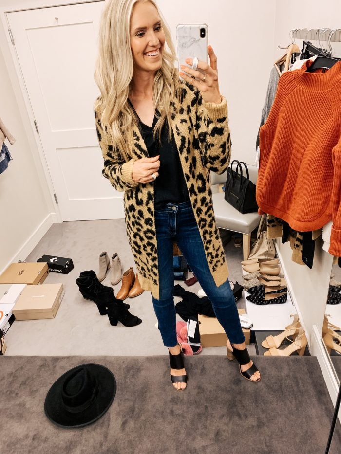 Nordstrom Anniversary Sale Haul featured by top US fashion blog, A Slice of Style: image of a woman wearing a BP Leopard Long cardigan