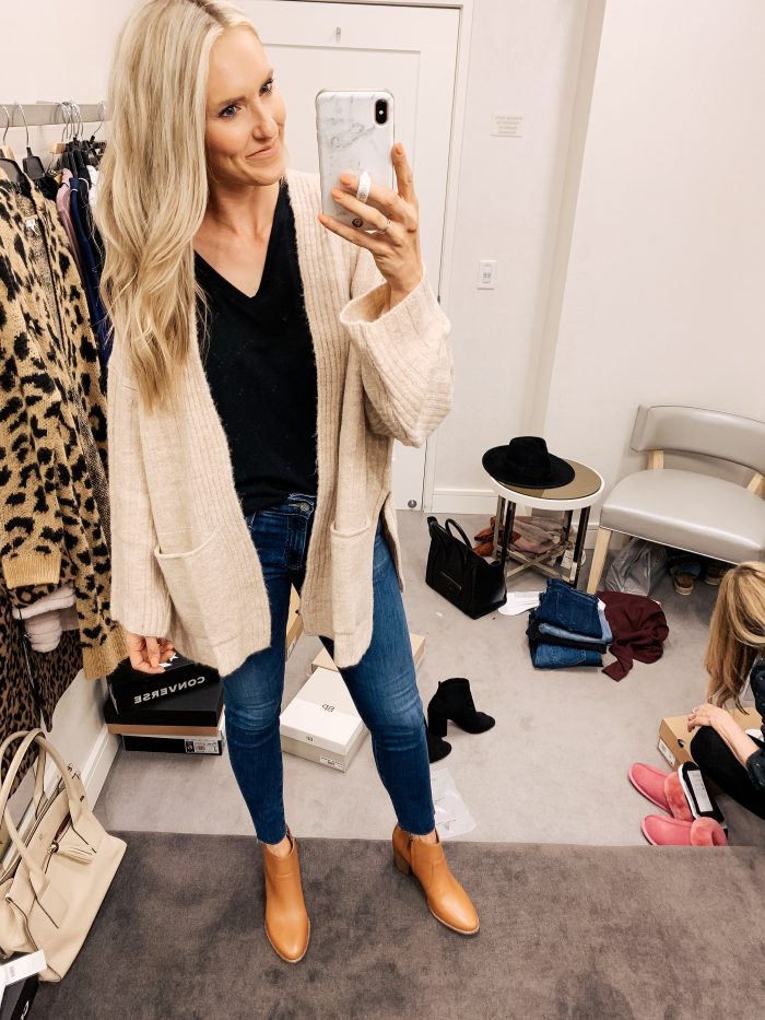 Nordstrom Anniversary Sale Haul featured by top US fashion blog, A Slice of Style: image of a woman wearing a Topshop long cardigan