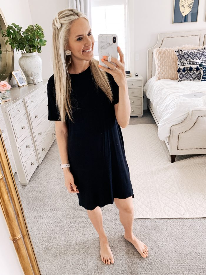 Affordable Amazon Beauty Dupes + Latest Amazon Favorites! by popular Utah beauty blog, A Slice of Style: image of a woman wearing a Amazon Brand - Daily Ritual Women's Jersey Short-Sleeve Boxy Pocket T-Shirt Dress.