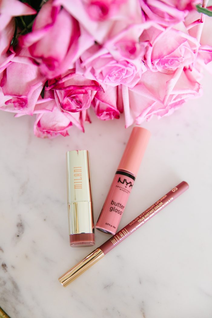 Walmart Beauty Essentials featured by top US beauty blog, A Slice of Style: image of Milani lipstick and lip crayon and NYX lipgloss