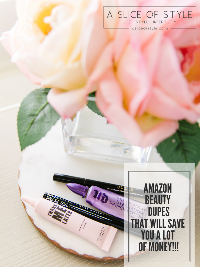 Affordable Amazon Beauty Dupes + Latest Amazon Favorites! by popular Utah beauty blog, A Slice of Style: image of black ink eyeliners and liquid eyeshadows on a decorative tray next to a small vase of roses.