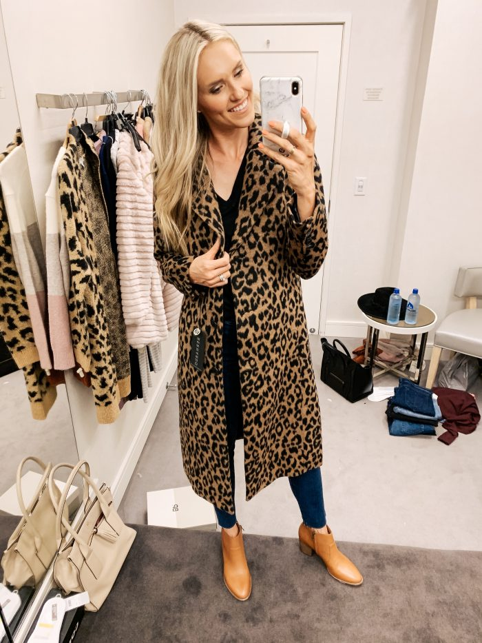 Nordstrom Anniversary Sale Haul featured by top US fashion blog, A Slice of Style: image of a woman wearing a Bernardo Leopard Print Coat