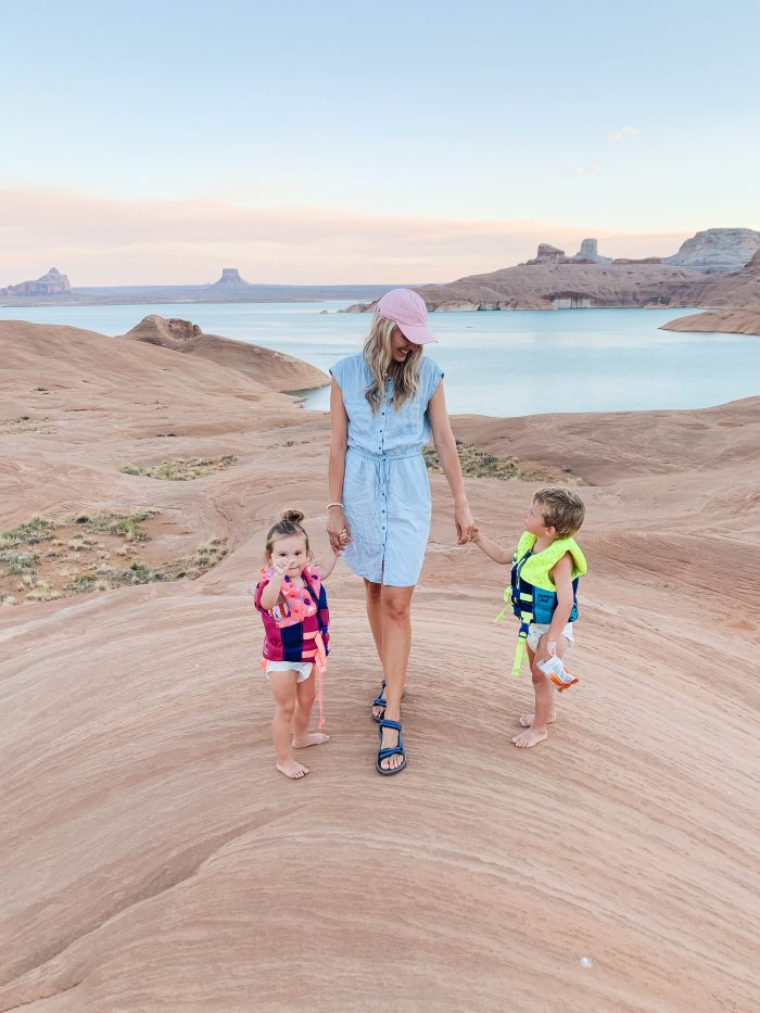 Affordable Amazon Beauty Dupes + Latest Amazon Favorites! by popular Utah beauty blog, A Slice of Style: image of a woman at Lake Powell with her twins and wearing a Amazon Brand - Daily Ritual Women's Tencel Short-Sleeve Utility Dress.