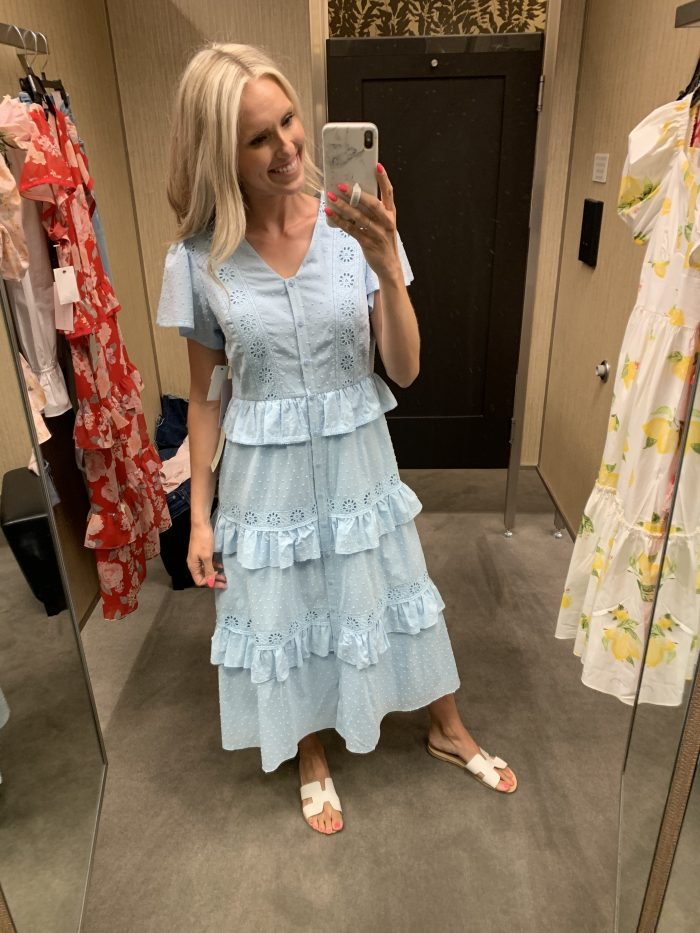 Best Labor Day Sales 2019 by popular Utah fashion blog: image of a woman standing in a dressing room and wearing a Nordstrom Rachel Parcell Ruffle Tier Midi Dress.
