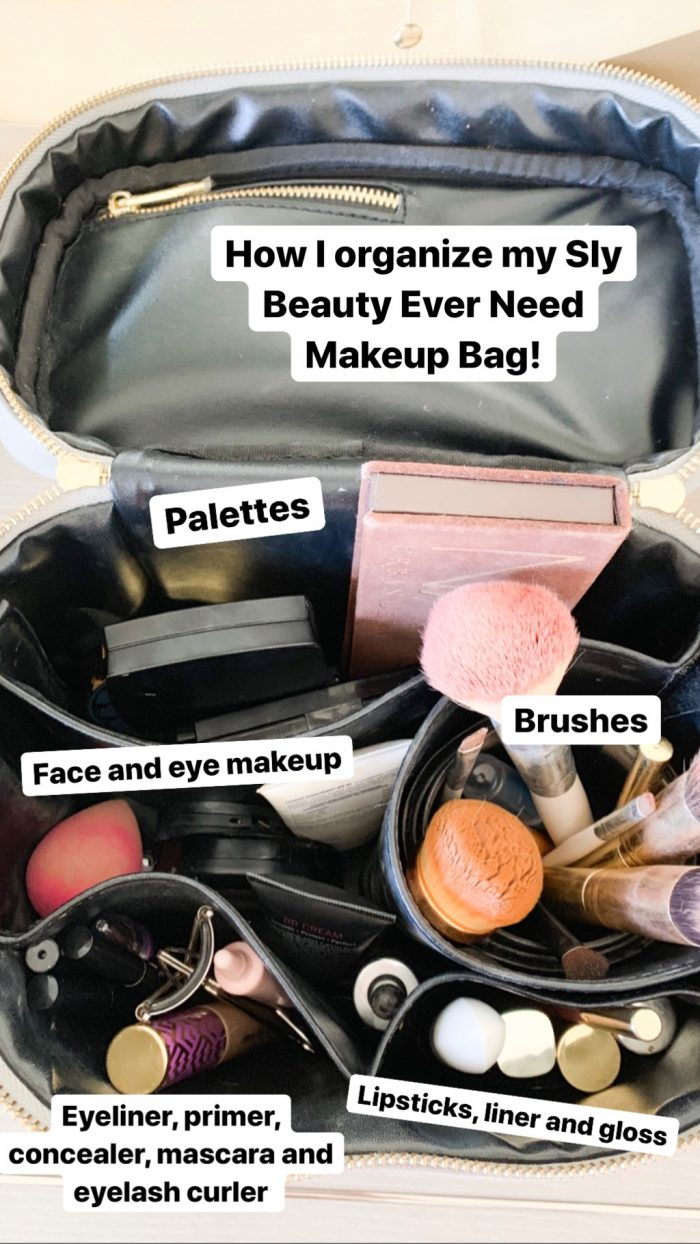The Only Makeup Bag I'll Ever Need Again!! Sly Beauty Discount Code by popular Utah beauty blog, A Slice of Style: image of a pink Sly Beauty makeup bag with various makeup and brushes inside.