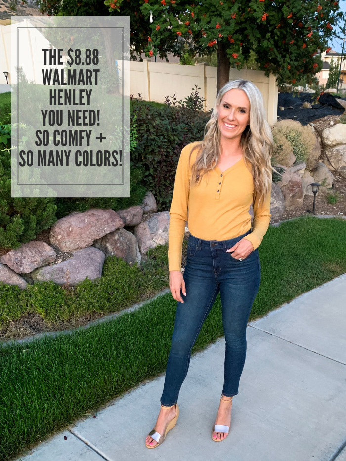 $8.88 Henley T-Shirt + Other Affordable Women's Clothes! by popular Utah fashion blog, A Slice of Style: image of a woman standing outside and wearing a Walmart Time and Tru Women's Thermal Henley T-Shirt, Melrose Ave Women's Said And Done Vegan Heeled Sandal, and Time and Tru Women's Core High Rise Skinny Jean.
