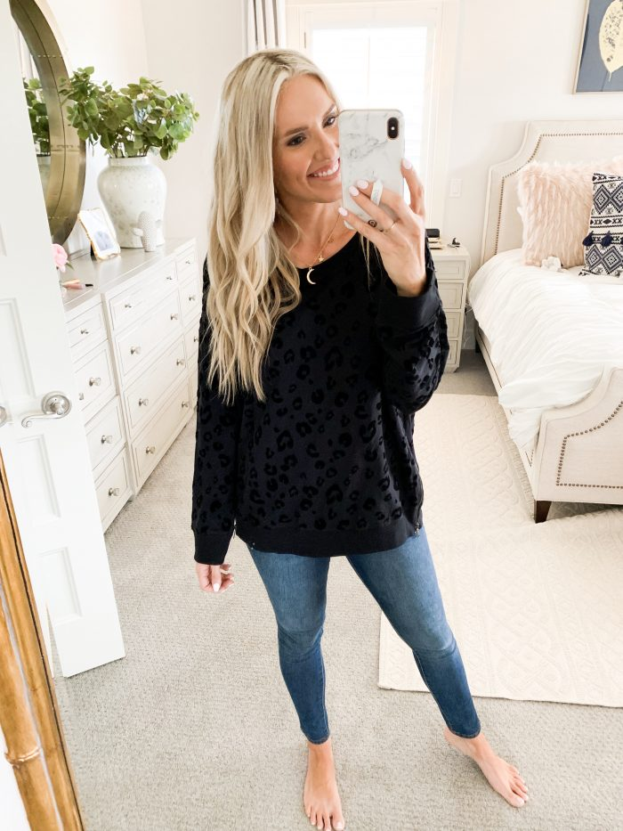Walmart Fall Fashion Haul! by popular Utah fashion blog, A Slice of Style: image of a woman wearing a Walmart Sweet Romeo Women's Athleisure Velvet Leopard Pullover with Side Zip.