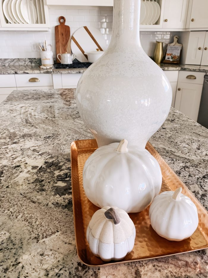 My Home Decorated for Fall! by popular Utah lifestyle blog, A Slice of Style: image of a kitchen decorated with Nordstrom Mango Wood Cutting Board Set and West Elm Reactive Glaze Vase.