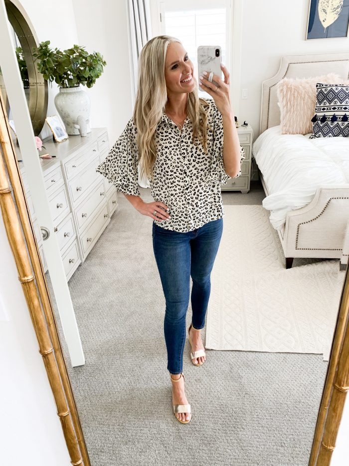 Walmart Fall Fashion Haul! by popular Utah fashion blog, A Slice of Style: image of a woman wearing a leopard print top and Walmart Time and Tru Women's Core High Rise Skinny Jean.